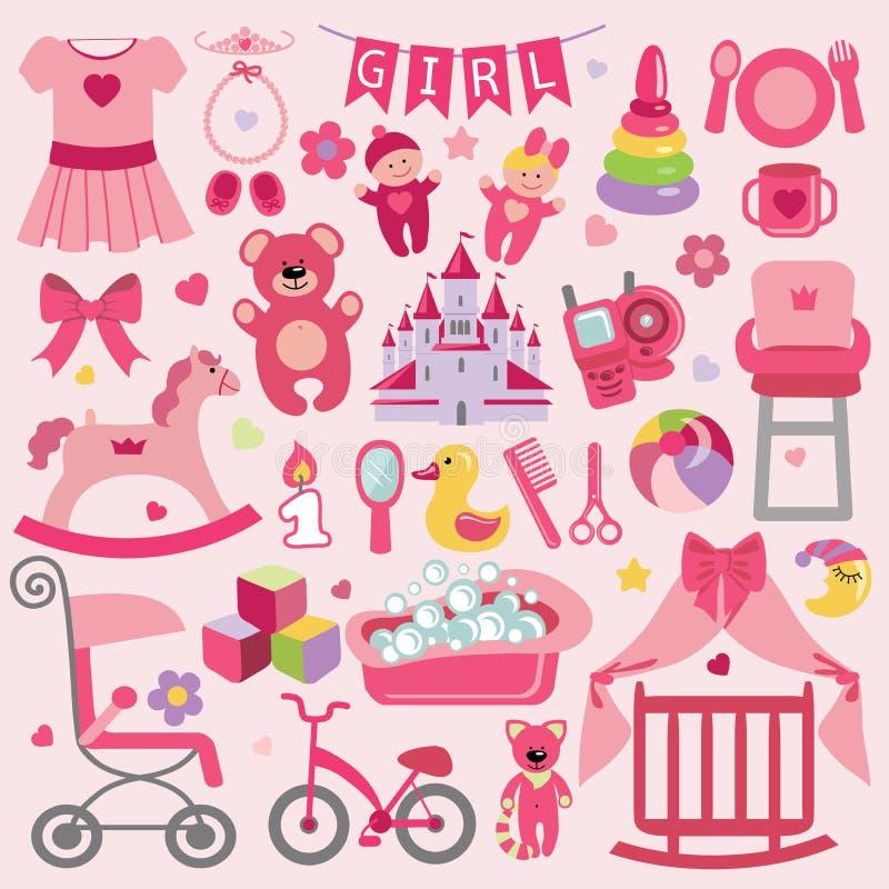 Los artículos del bebé fijaron la colección Iconos de la fiesta de bienvenida al bebé stock de ilustración