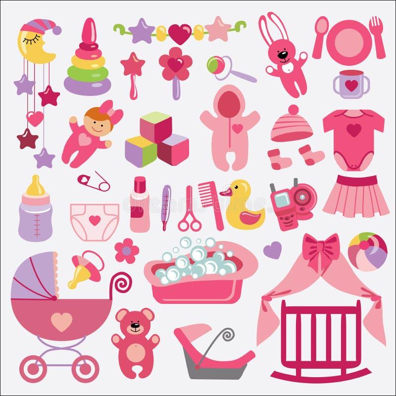 Los artículos recién nacidos del bebé fijaron la colección Ducha de bebé libre illustration