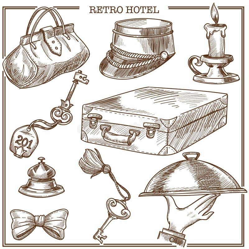 Los artículos retros del viaje de la huésped del hotel y el vector accesorio del personal de servicio bosquejan iconos ilustración del vector