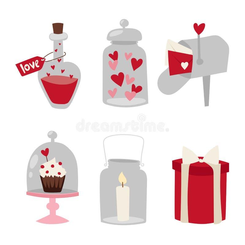 Los artículos y el corazón planos de la boda del amor del diseño del día de San Valentín feliz aman el ejemplo romántico del vect ilustración del vector