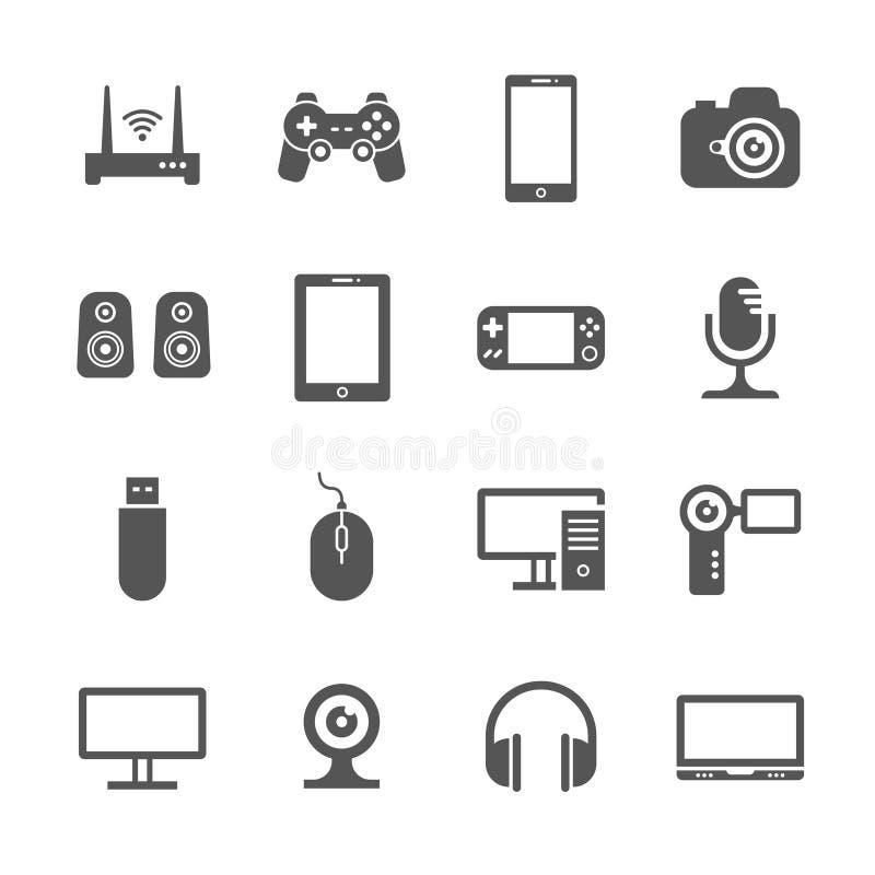 Los artilugios del ordenador y el dispositivo digital del PDA vector iconos libre illustration