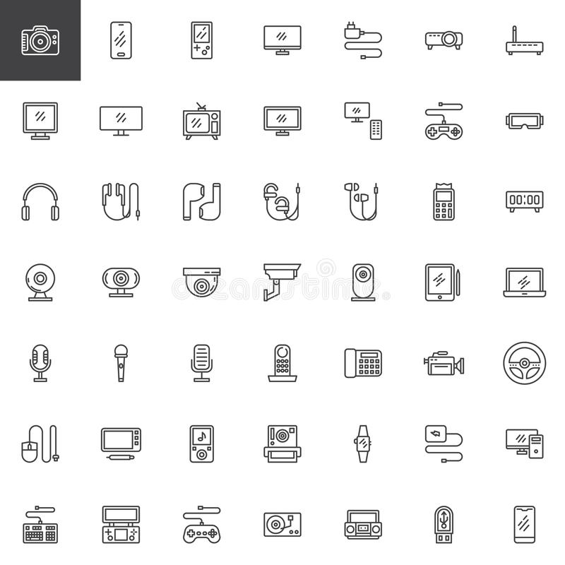 Los artilugios electr?nicos alinean el sistema de los iconos stock de ilustración