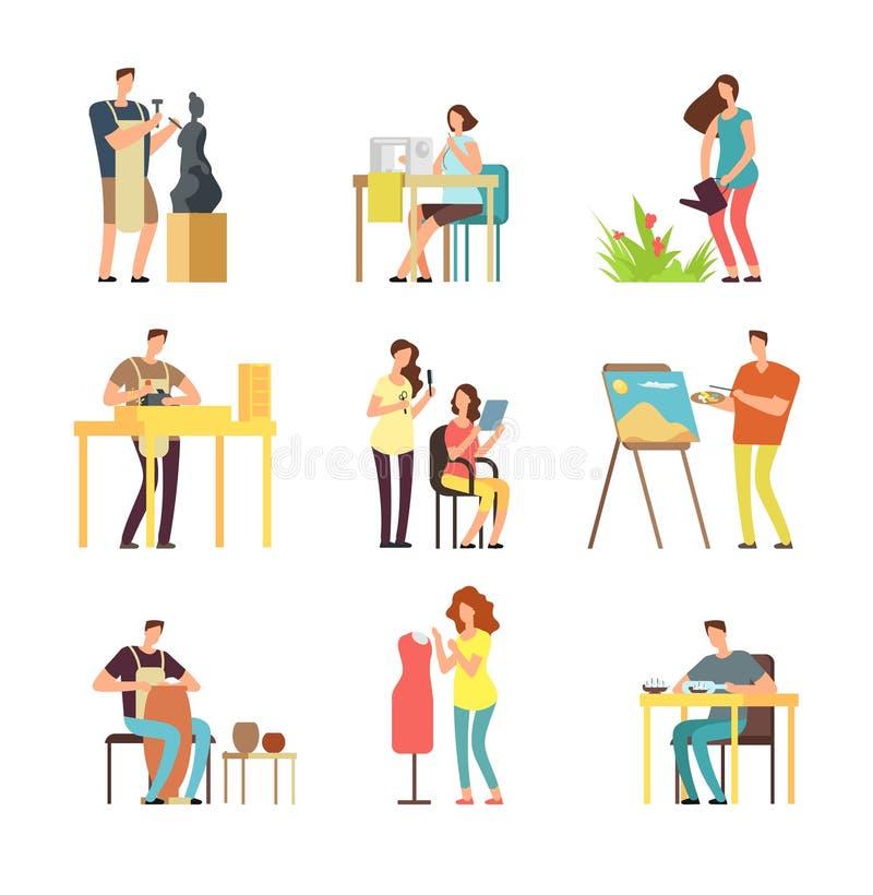 Los artistas del hombre y de la mujer en arte diseñan el campo Escultor, artista, sistema de la gente de la historieta de Vector  libre illustration
