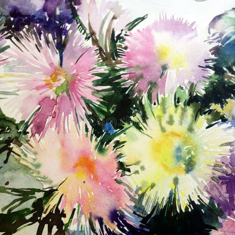 Los asteres blancos rosados amarillos verdes claros delicados del extracto del fondo del arte de la acuarela florecen stock de ilustración