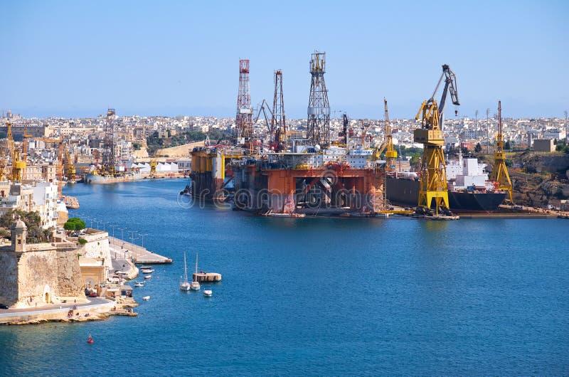 Los astilleros de Palumbo, Cospicua, Malta fotografía de archivo
