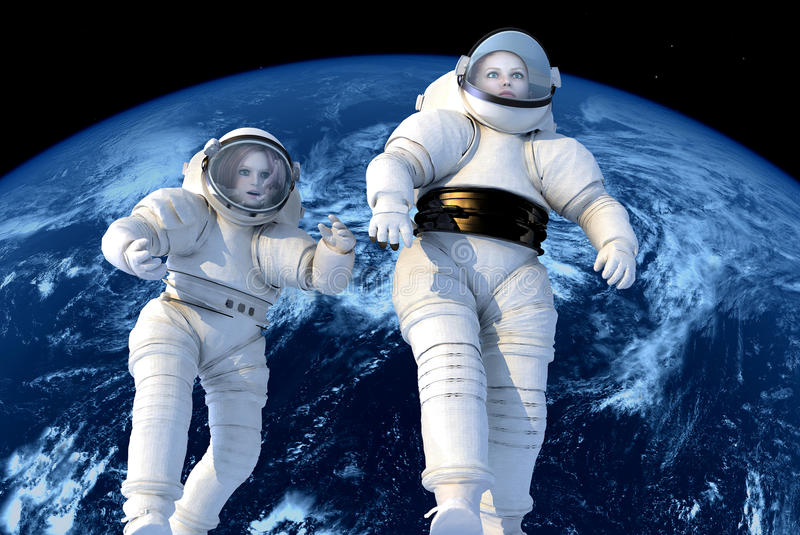Los astronautas ilustración del vector