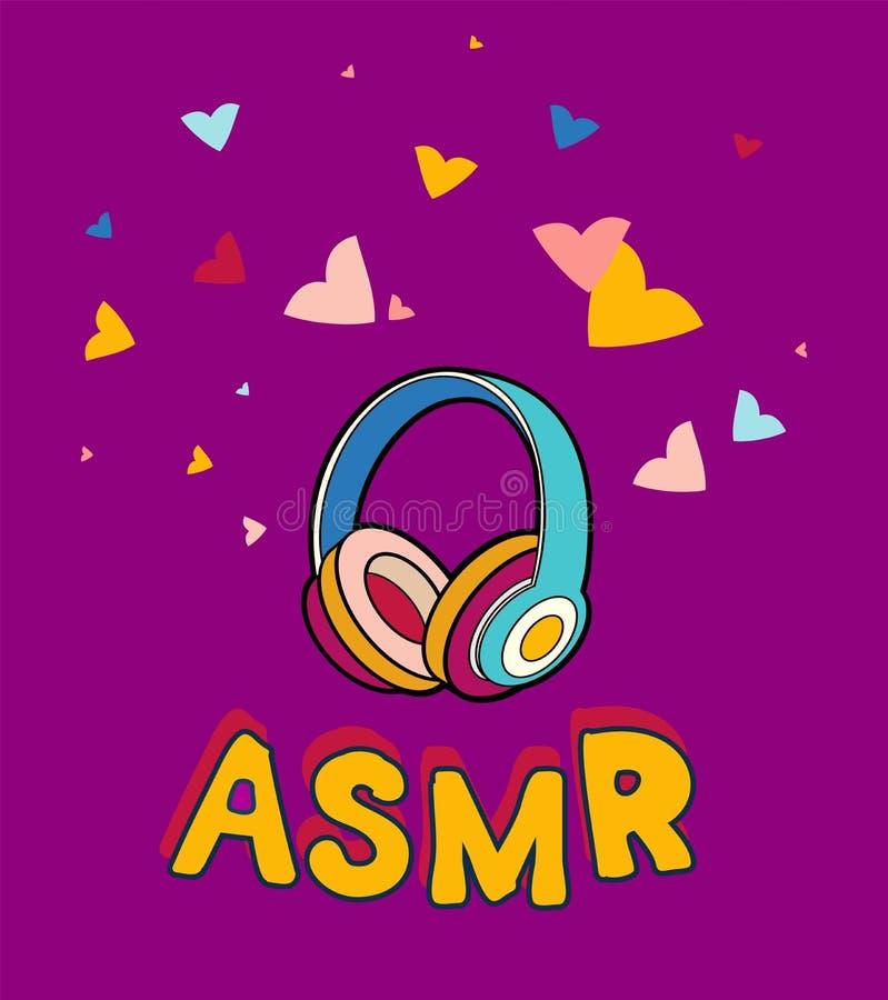 Los auriculares de ASMR aislaron el logotipo, icono Ejemplo meridiano sensorial autónomo de la respuesta Auriculares, corazones c stock de ilustración