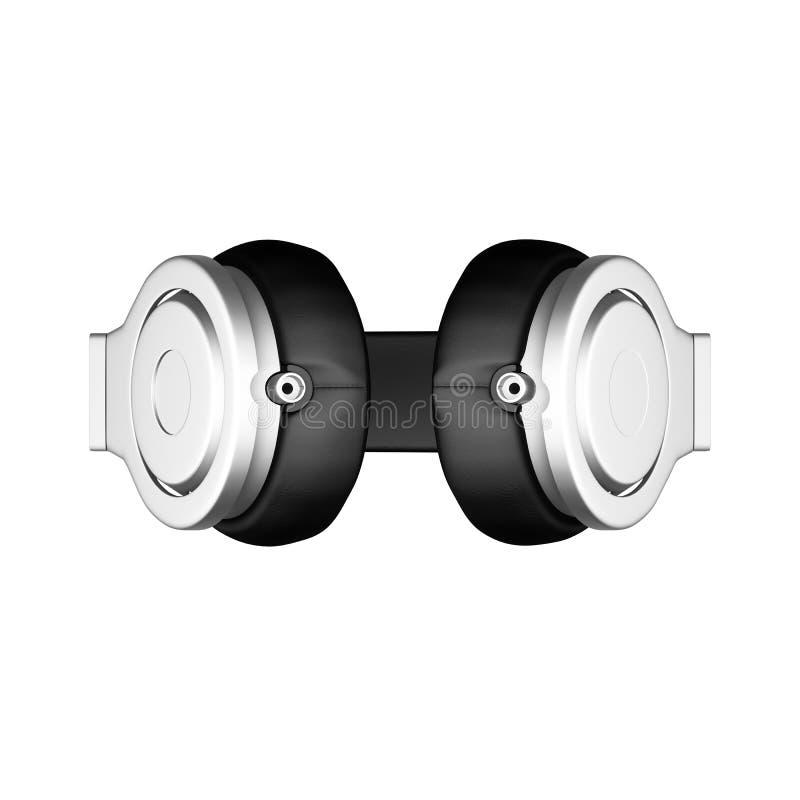 Los auriculares de cuero negros aislados en el ejemplo blanco del fondo d rinden libre illustration