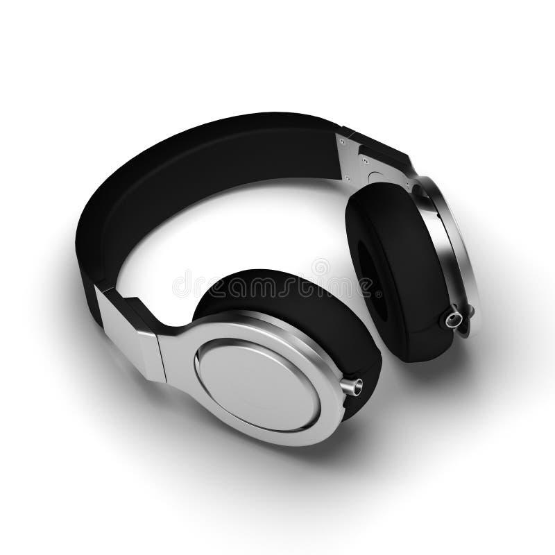 Los auriculares de cuero negros aislados en el ejemplo blanco del fondo 3d rinden stock de ilustración