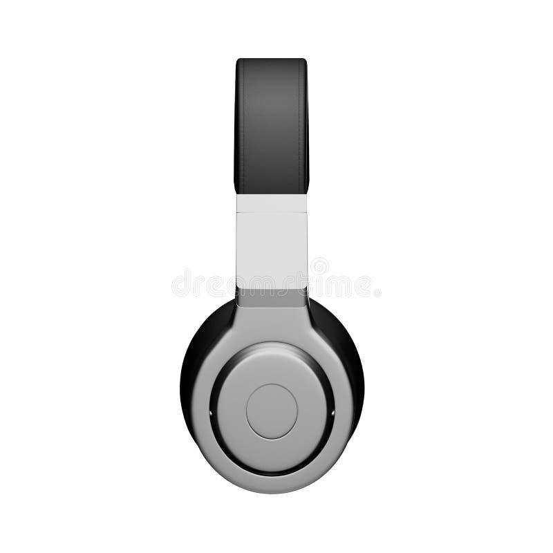Los auriculares de cuero negros aislados en el ejemplo blanco del fondo d rinden stock de ilustración