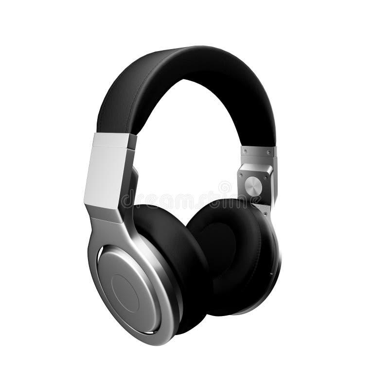 Los auriculares de cuero negros en el ejemplo blanco del fondo d rinden ilustración del vector