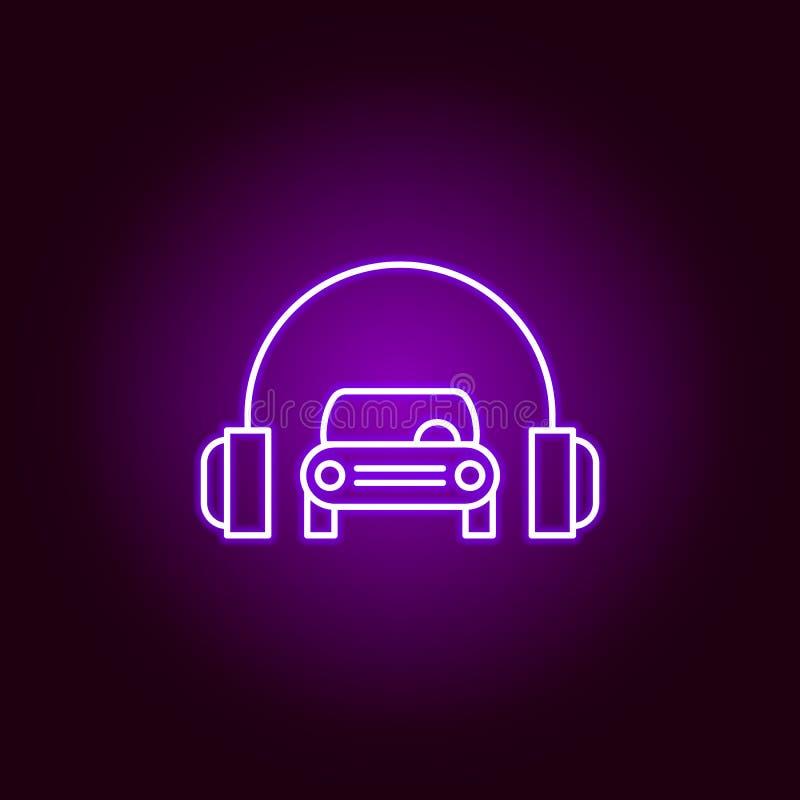los auriculares del coche resumen el icono en el estilo de neón Elementos del ejemplo de la reparación del coche en el icono de n libre illustration
