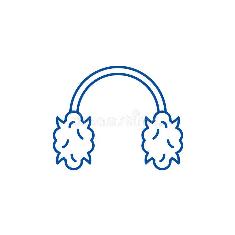 Los auriculares hechos punto alinean concepto del icono Símbolo plano hecho punto del vector de los auriculares, muestra, ejemplo libre illustration