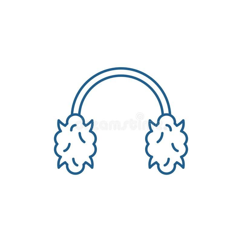 Los auriculares hechos punto alinean concepto del icono S?mbolo plano hecho punto del vector de los auriculares, muestra, ejemplo ilustración del vector