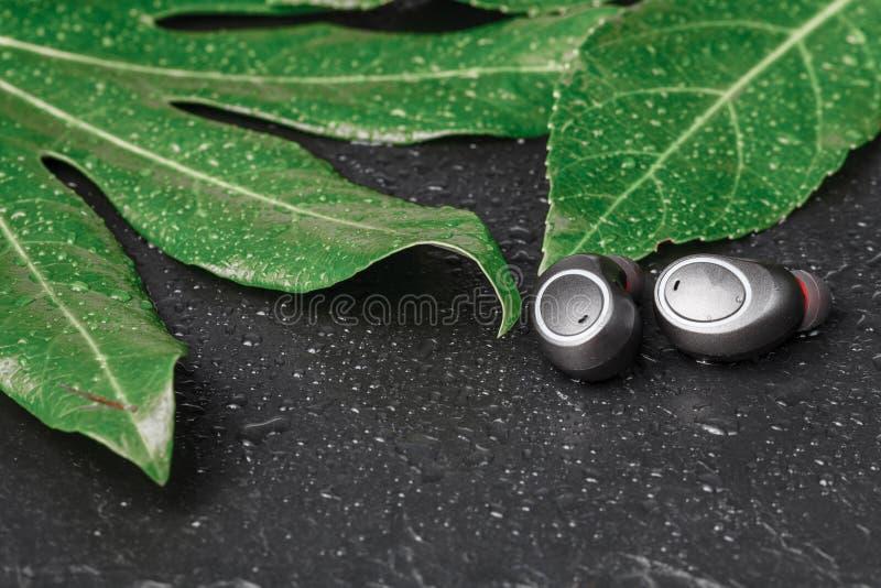 Los auriculares inalámbricos se cierran encima de la opinión sobre piedra negra imagen de archivo libre de regalías