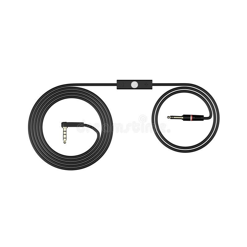 Los auriculares negros telegrafían aislado en el ejemplo blanco del fondo 3d rinden stock de ilustración