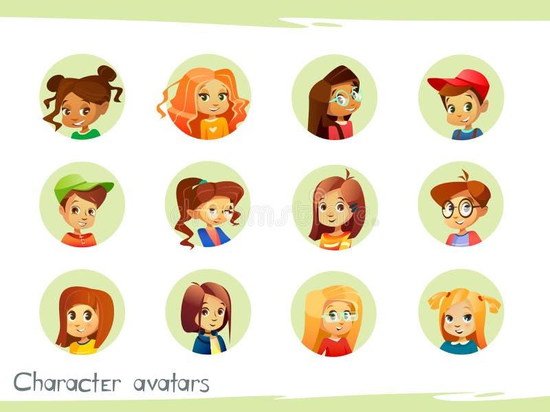 Los avatares de los caracteres de los niños vector el ejemplo de los iconos de los niños del muchacho y de la muchacha de la hist stock de ilustración