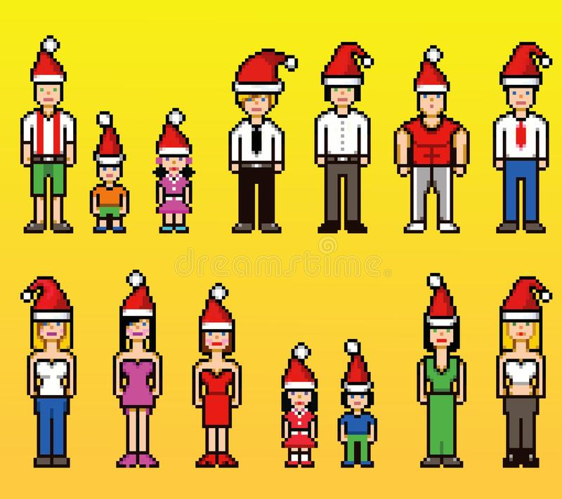 Los avatares de la gente del estilo del arte del pixel en sombreros de Navidad Papá Noel aislaron el fondo ilustración del vector