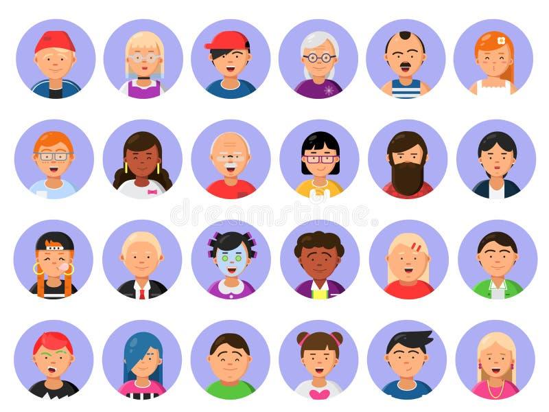 Los avatares fijaron de los caracteres masculinos y femeninos en estilo plano stock de ilustración