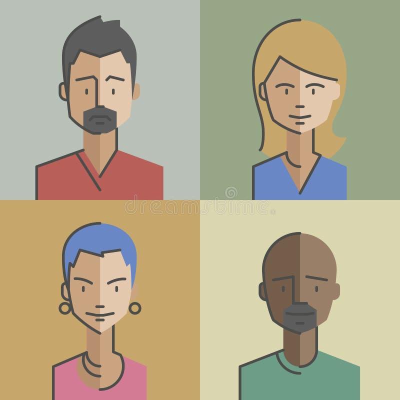 Los avatares masculinos y de la hembra de las caras fijaron 04 fotos de archivo