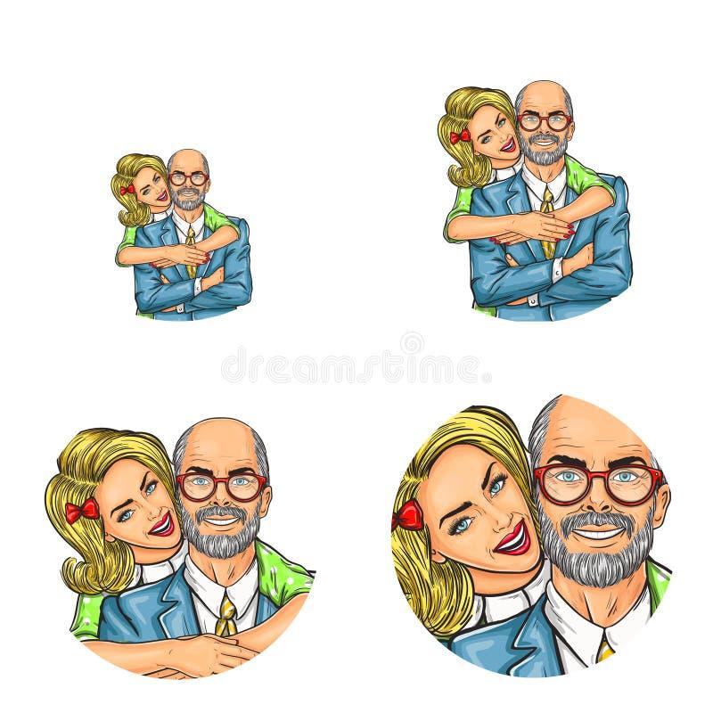 Los avatares sociales del usuario de la red del arte pop del vector del adulto de abarcamiento de la muchacha rubia joven se qued libre illustration