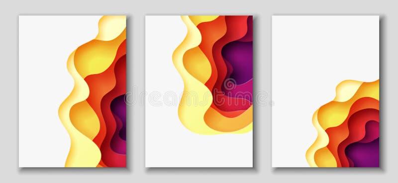 Los aviadores verticales A4 con el fondo del extracto 3D con el papel cortaron formas Disposición de diseño del vector libre illustration