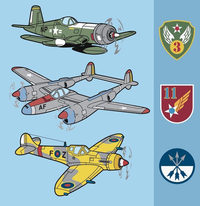 Los aviones de combate de la Segunda Guerra Mundial del vintage fijaron 2 libre illustration