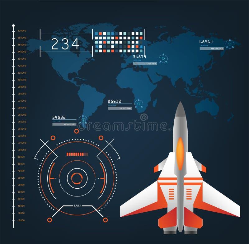 Los aviones de las naves espaciales con el modo futuro de la acción de la vista interconectan ilustración del vector