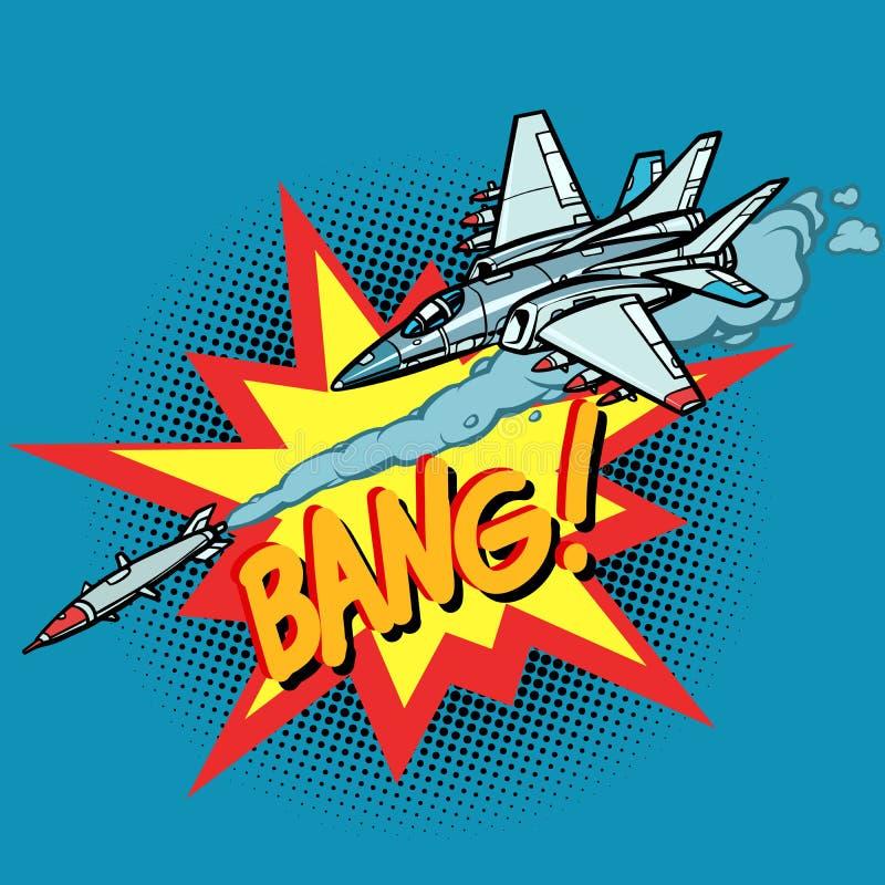 Los aviones militares atacaron por el misil, fuerza a?rea del ej?rcito stock de ilustración