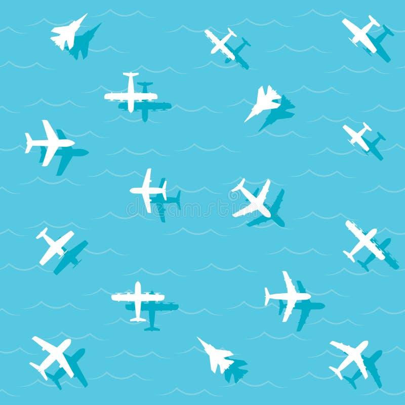 Los aviones vuelan stock de ilustración