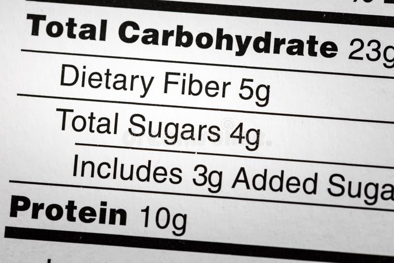 Los azúcares dietéticos de la fibra del carbohidrato etiquetan dieta foto de archivo