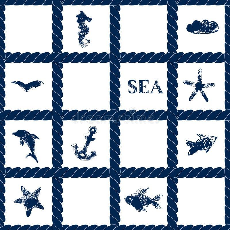 Los azules marinos rope enrejado en el modelo inconsútil geométrico blanco con símbolos del mar del grunge - pescados, delfín, an ilustración del vector