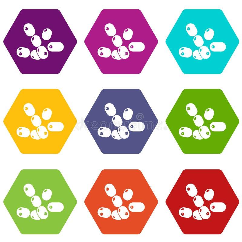 Los bacilos iconos del coco fijaron el vector 9 libre illustration