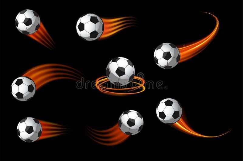 Los balones de fútbol o el icono del fútbol con el movimiento del fuego se arrastra ilustración del vector