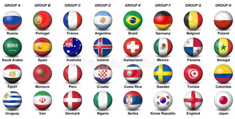 Los balones de fútbol señalan el wor final 2018 del fútbol por medio de una bandera del torneo de los países ilustración del vector