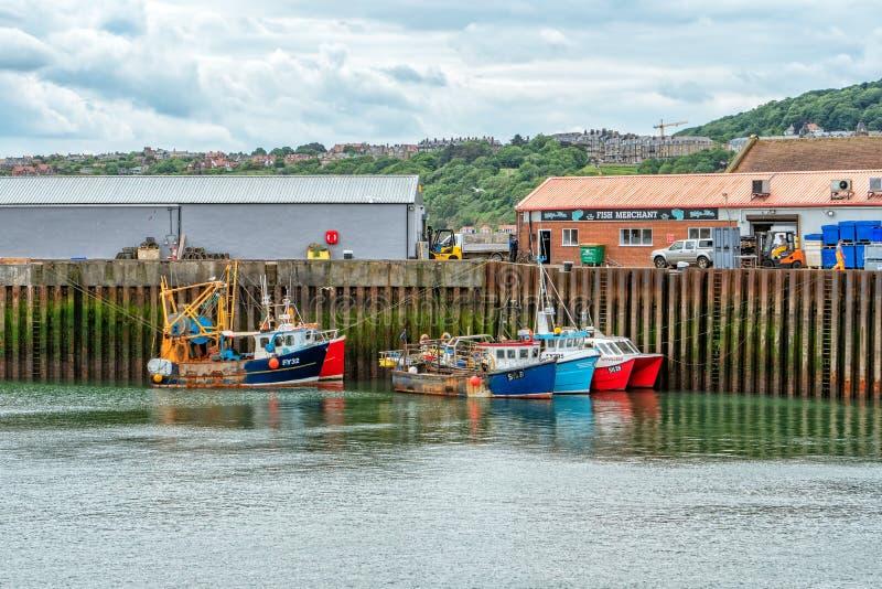 Los barcos de pesca en Scarborough se abrigan, Yorkshire, Inglaterra imagen de archivo