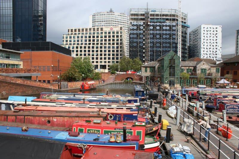 Los barcos estrechos amarraron el lavabo de la calle del gas, Birmingham imágenes de archivo libres de regalías