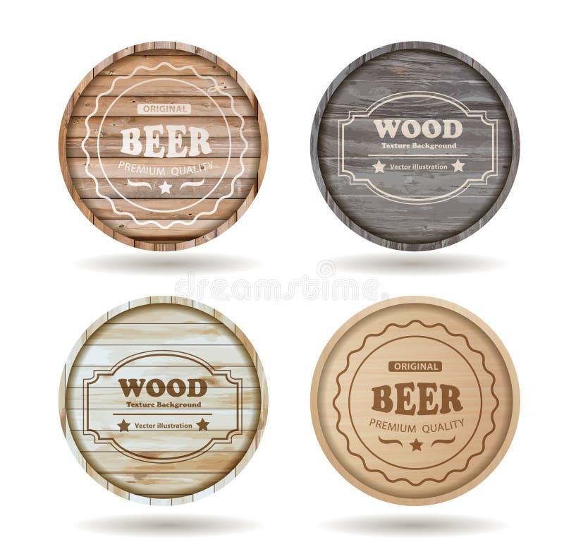 Los barriles de madera del vector con alcohol beben emblemas ilustración del vector