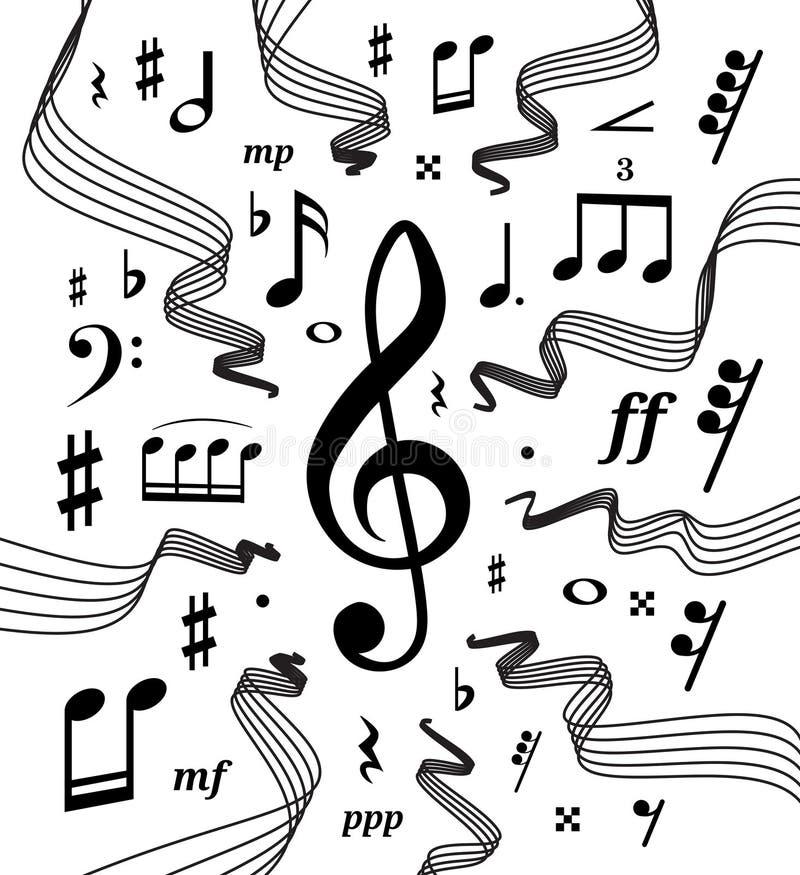 Los bastones musicales vector el ejemplo con las notas y los símbolos de la música stock de ilustración