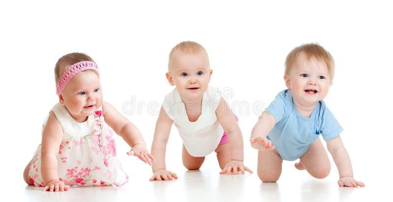 Los bebés divertidos van abajo en todos los fours fotografía de archivo