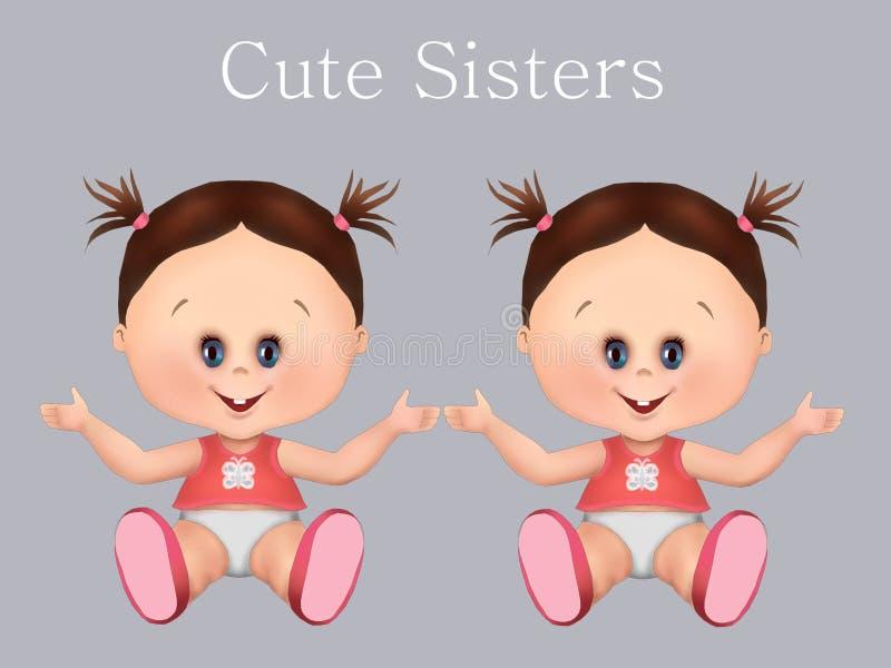 Los bebés lindos, hermanan muchachas gemelas y al bebé de los hermanos gemelos i salud y cuidado del bebé, tarjeta de felicita ilustración del vector