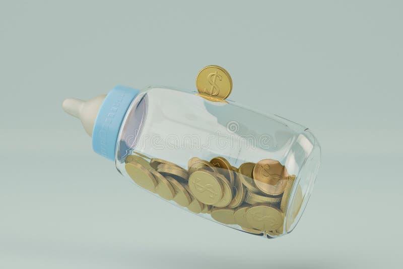 Los biberones ejercen la actividad bancaria y la moneda de oro en fondo azul illustrat 3d stock de ilustración