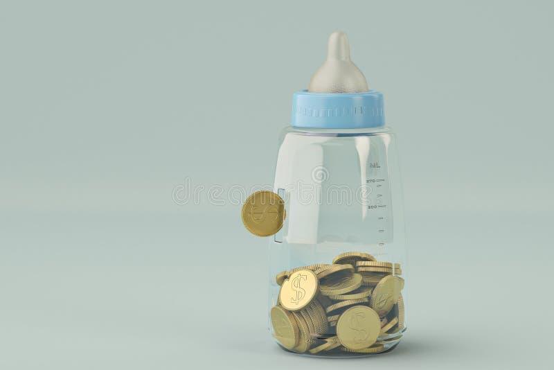 Los biberones ejercen la actividad bancaria y la moneda de oro en fondo azul illustrat 3d ilustración del vector