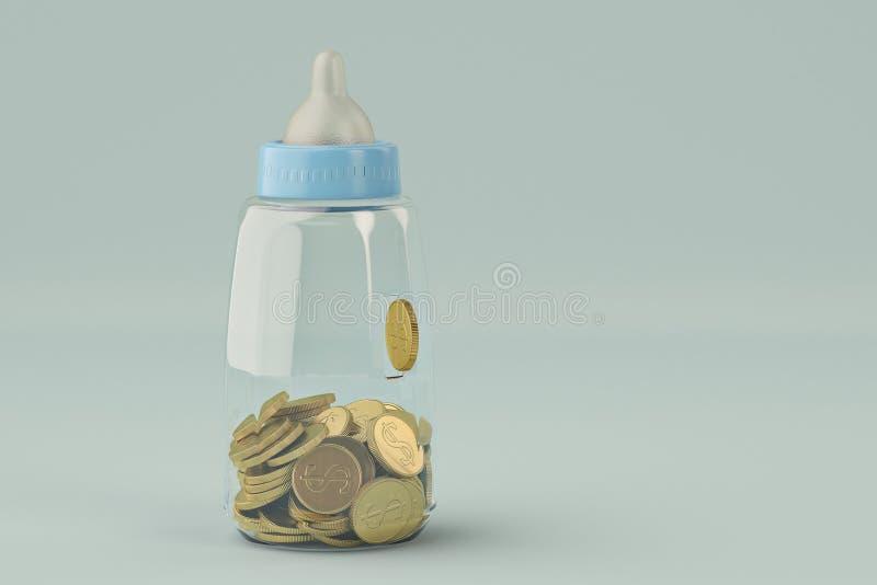 Los biberones ejercen la actividad bancaria y la moneda de oro en fondo azul illustrat 3d libre illustration