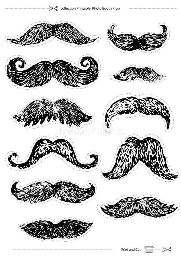 Los bigotes a mano fijaron, apoyo imprimible de la cabina de la foto de la colección, ilustración del vector