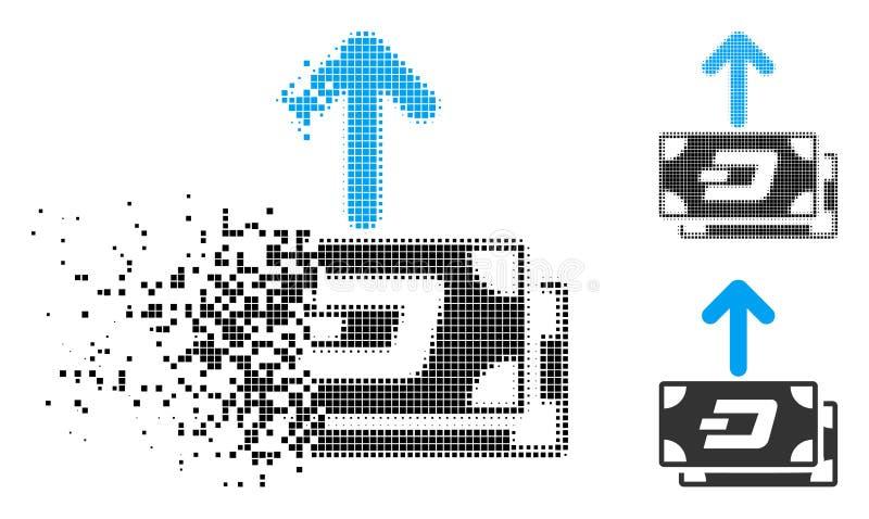 Los billetes de banco de semitono de disolución de la rociada de Pixelated pagan el icono ilustración del vector