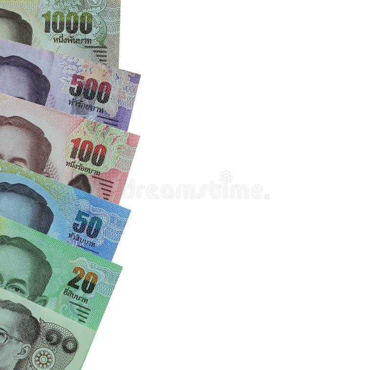 Los billetes de banco de Tailandia apilaron aislado en el fondo y h blancos foto de archivo libre de regalías