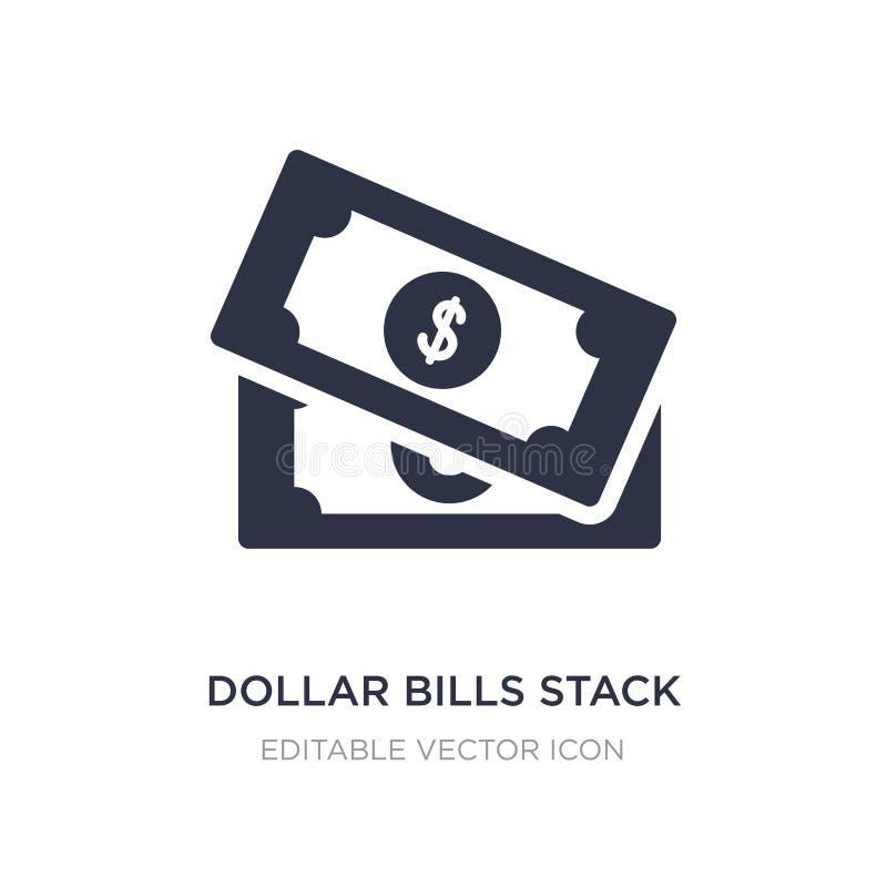 los billetes de dólar apilan el icono en el fondo blanco Ejemplo simple del elemento del concepto de UI ilustración del vector