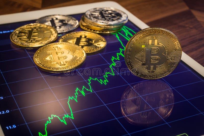 Los bitcoins de Cryptocurrency con la predicción aumentan el precio de mercado GR foto de archivo