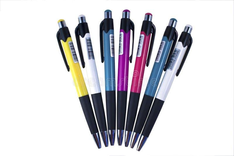 Los bolígrafos coloreados fijaron imagen de archivo